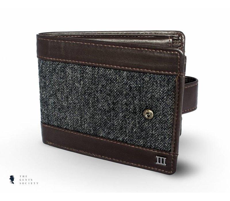 bruin lederen portemonnee met grijze visgraat stof