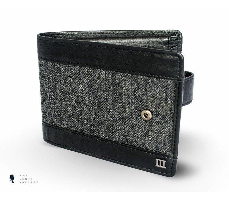 zwart lederen portemonnee met een stoffen band