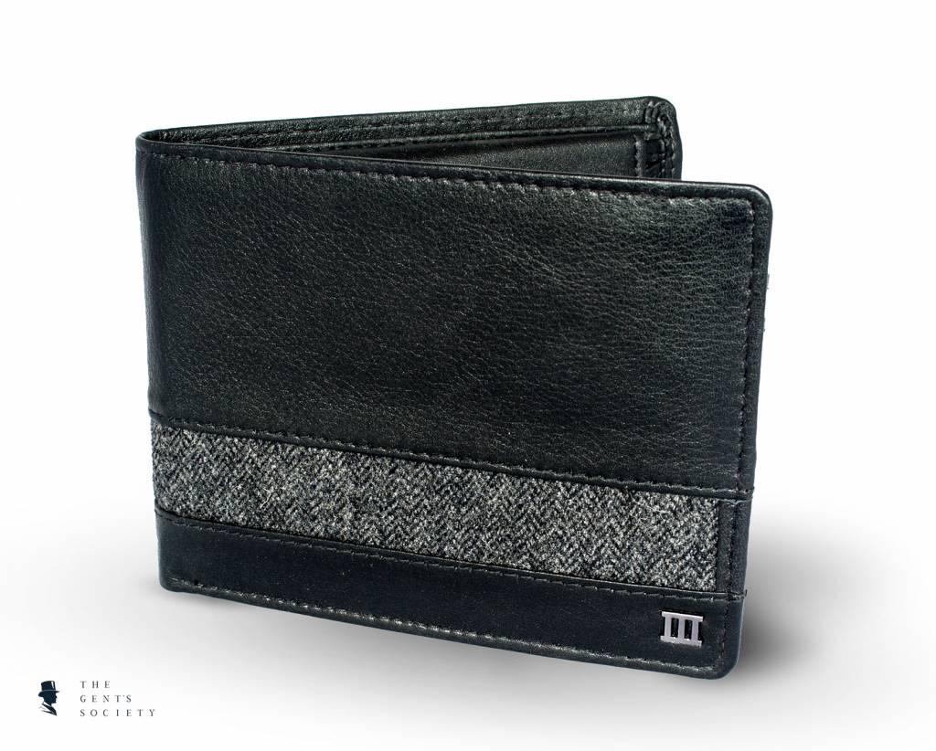 05f75b6c484 Uniek zwart leren portemonnee met grijze visgraat stof van Tresanti ...