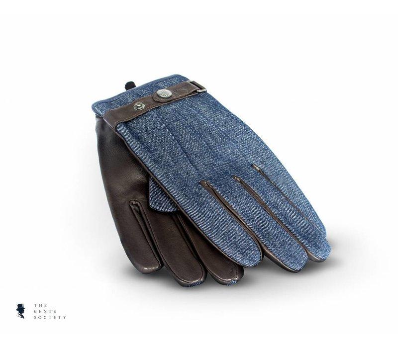 uniek bruin lederen handschoenen met denim stof