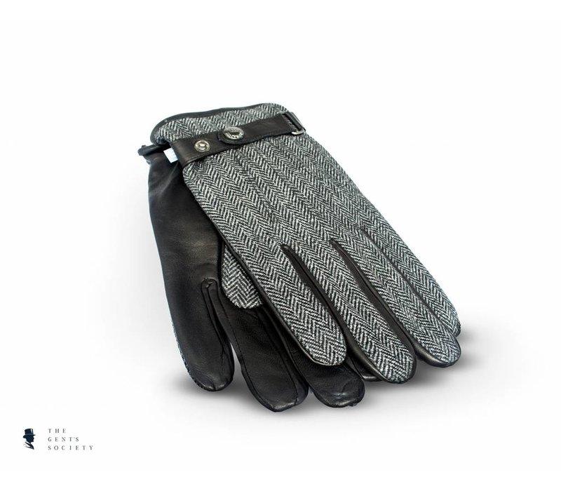 zwart lederen handschoenen met grijze visgraat stof
