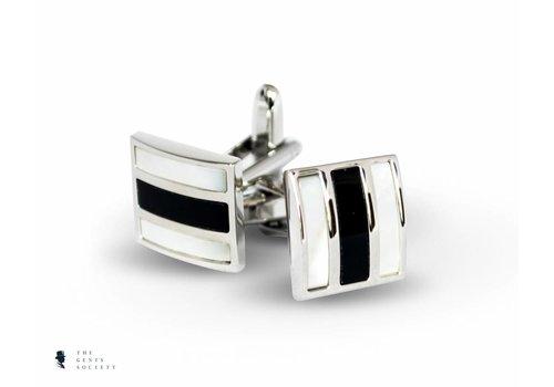 Tresanti zwarte onyx en wit parelmoer manchetknopen
