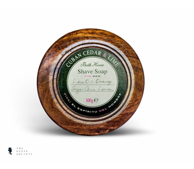 natuurlijke scheerzeep Cuban Cedar & Lime in houten kom