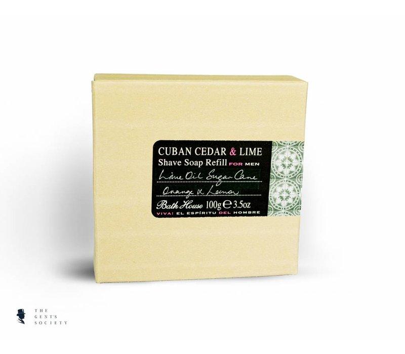 natuurlijke scheerzeep navulling Cuban Cedar & Lime