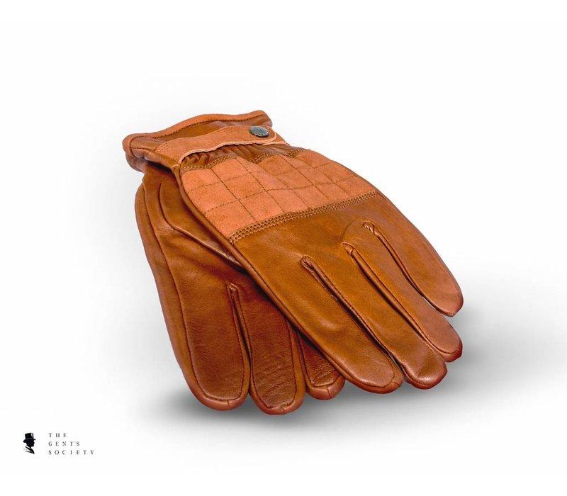 cognac lederen handschoenen met suède deel op de knokkels en elastisch polsgedeelte