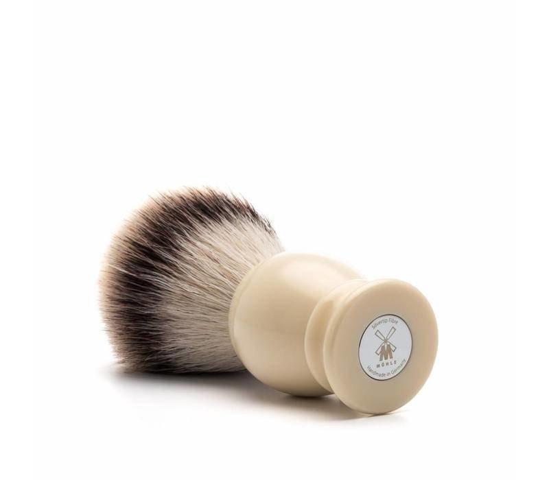 luxe scheerkwast Silvertip Fibre met synthetische vezel en handvat in de kleur ivoor