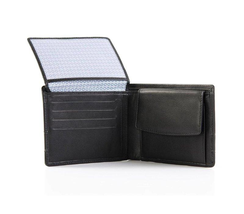 zwart lederen portemonnee met stoffen band