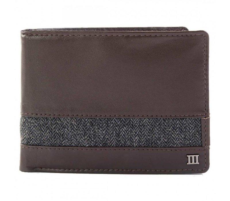 bruin lederen portemonnee met een stoffen band