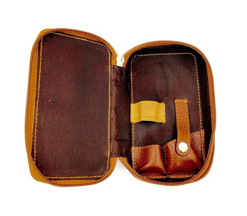 Scheeretui Safety Razor & Blades  bruin Leder