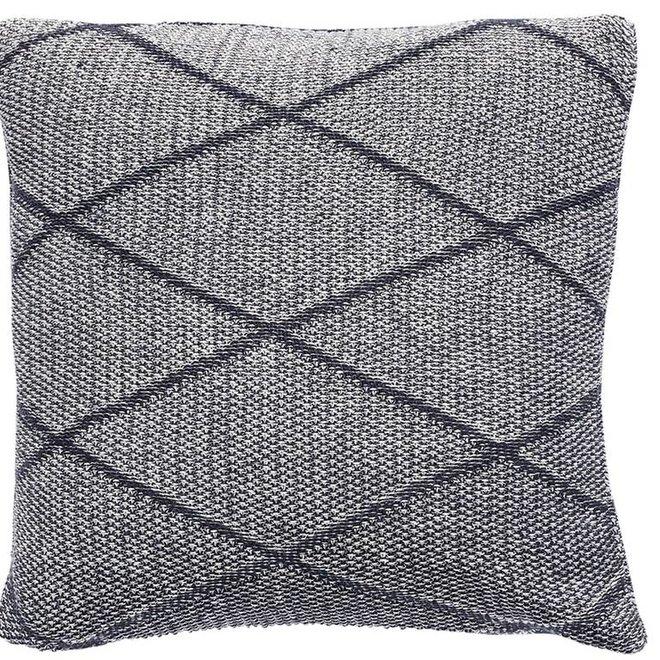kussen, katoen, grijs patroon