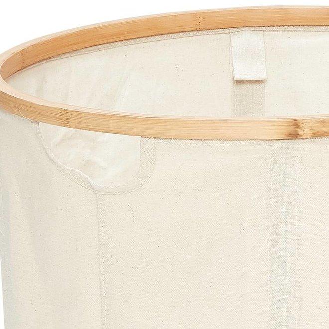 wasmand, bamboe/textiel, rond - set van 2