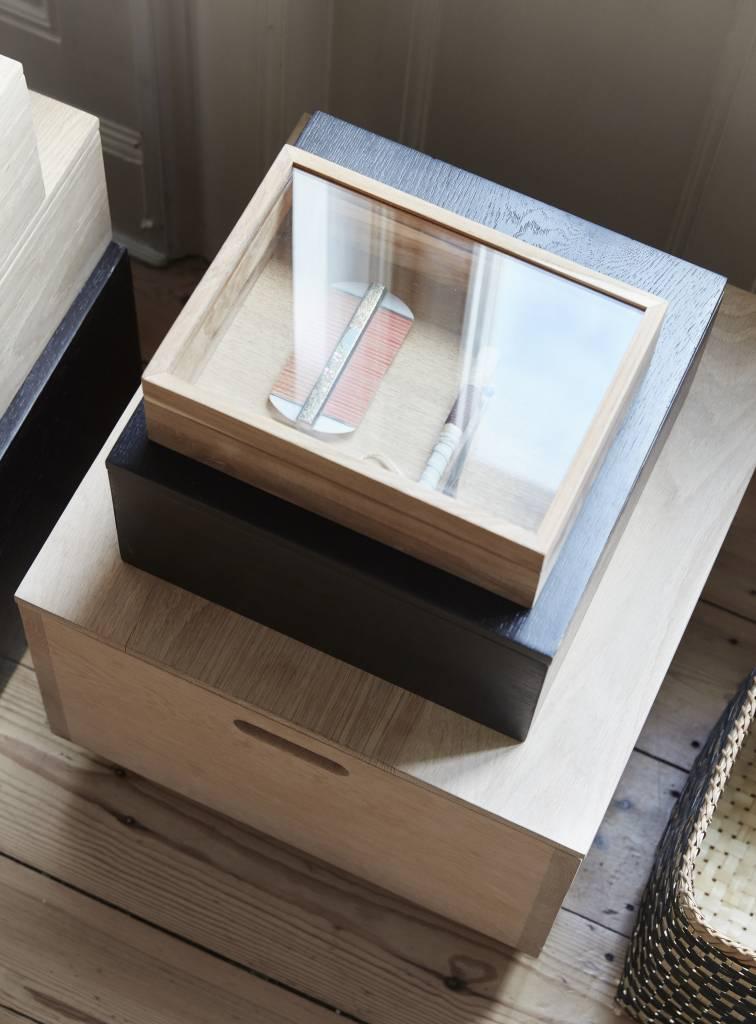 Hubsch opbergbox hout/glas 2 st.