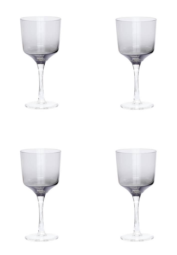 Hubsch wijnglazen witte wijn - grijs glas - 4st.-480302-5712772056530