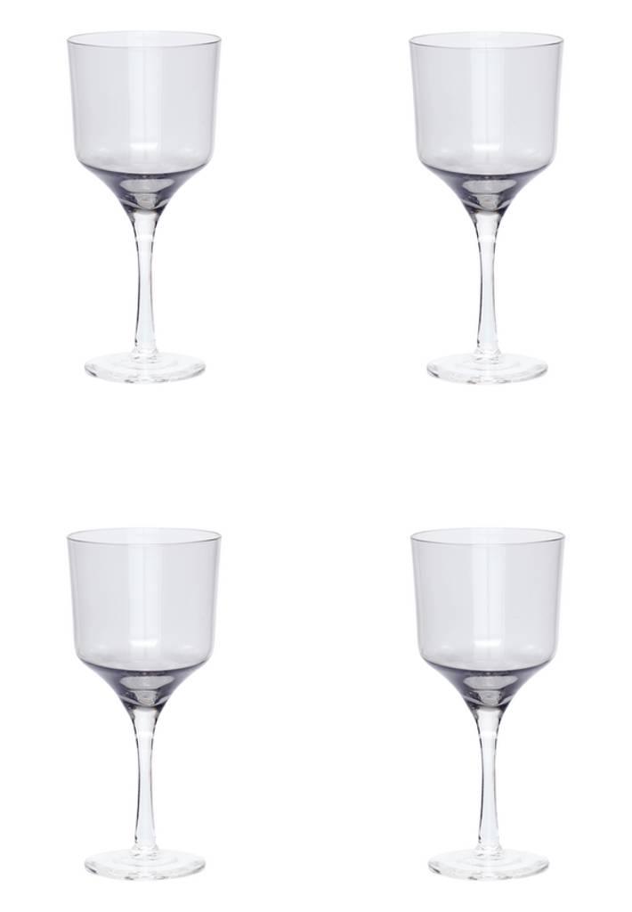 Hubsch wijnglazen rode wijn - grijs glas - 4st.
