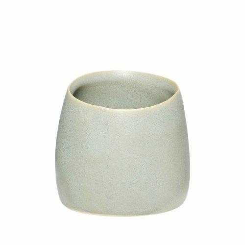Hubsch beker mat grijs keramiek - ø9 x h8 cm
