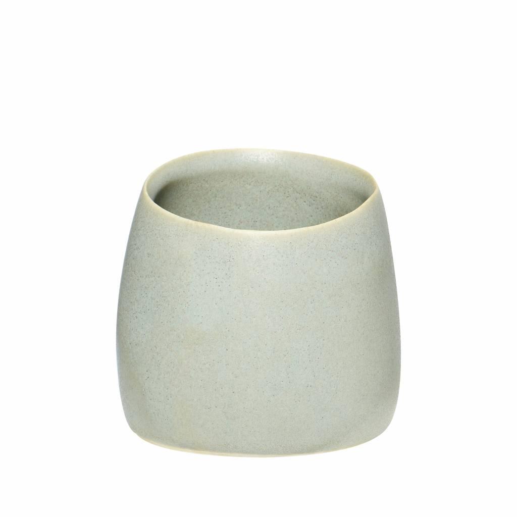Hubsch beker mat grijs keramiek - ø9 x h8 cm - set van 4