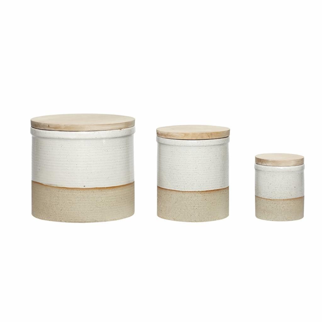 Hubsch voorraadpot keramiek/hout 3 st. - 640131