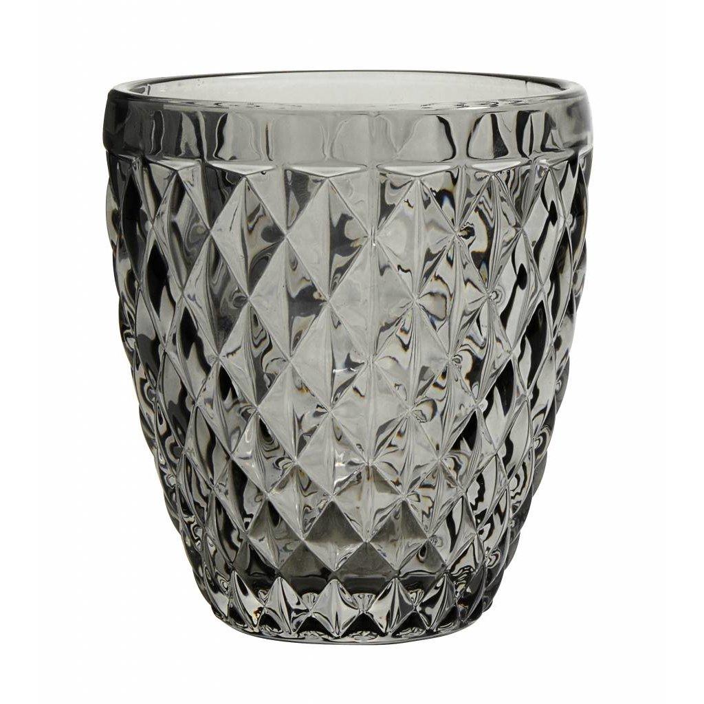 Nordal drinkglas Diamond grijs glas - h 10cm - 8962