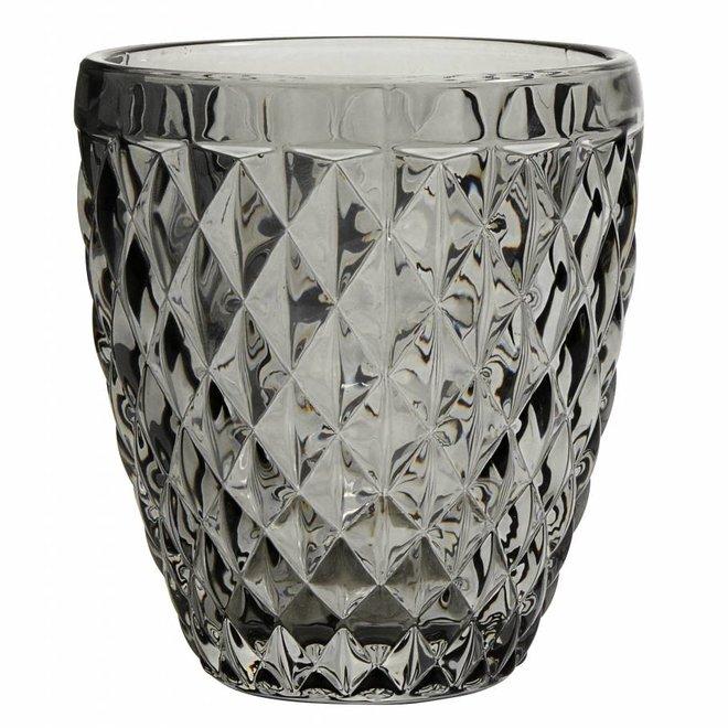 drinkglas Diamond grijs glas - h 10cm