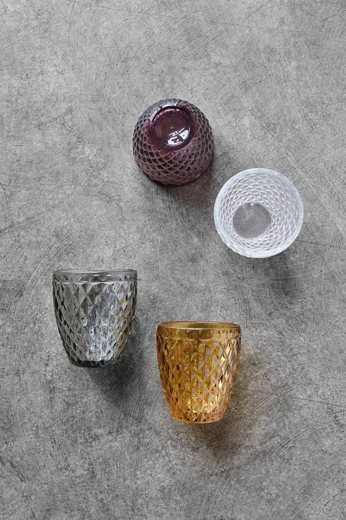 Nordal drinkglas Diamond grijs glas - h 10cm-8962-5708309134482