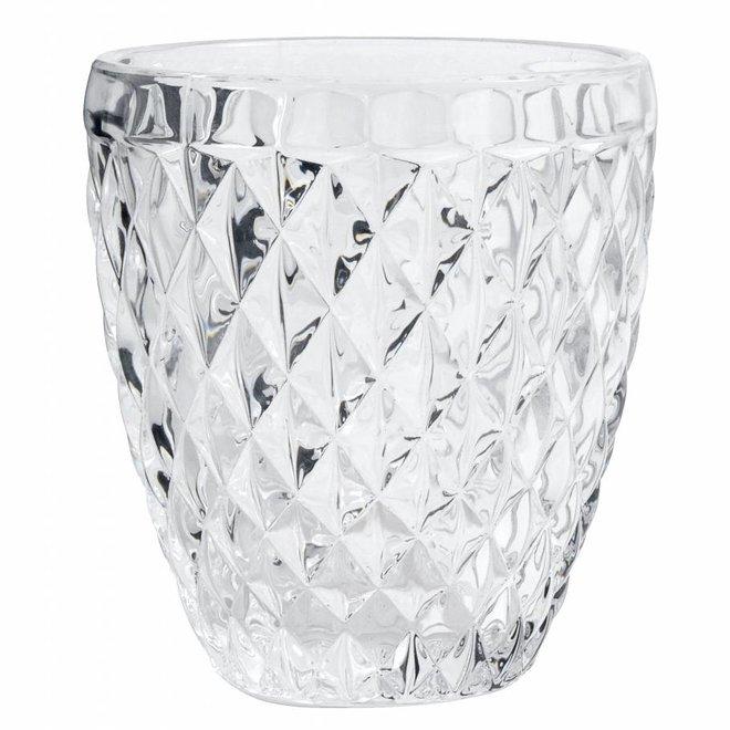 drinkglas Diamond helder glas - h 10cm