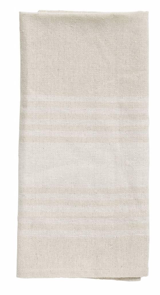 Nordal theedoek beige/wit katoen 50 x 70 cm