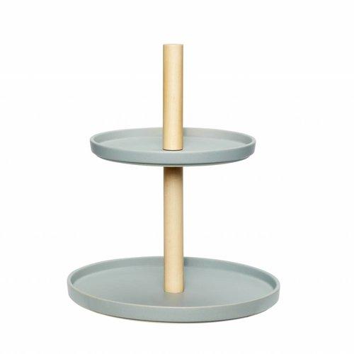 Hubsch etagère tweelaags aardewerk/hout - blauw