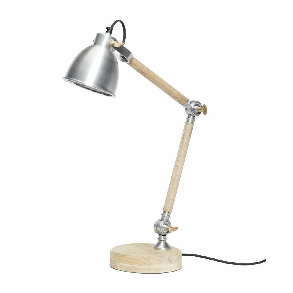 Hubsch bureaulamp hout/ijzer - 56cm-320201-5712772051993