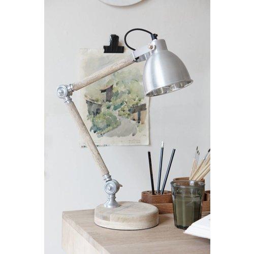 Hubsch bureaulamp hout/ijzer - 56cm