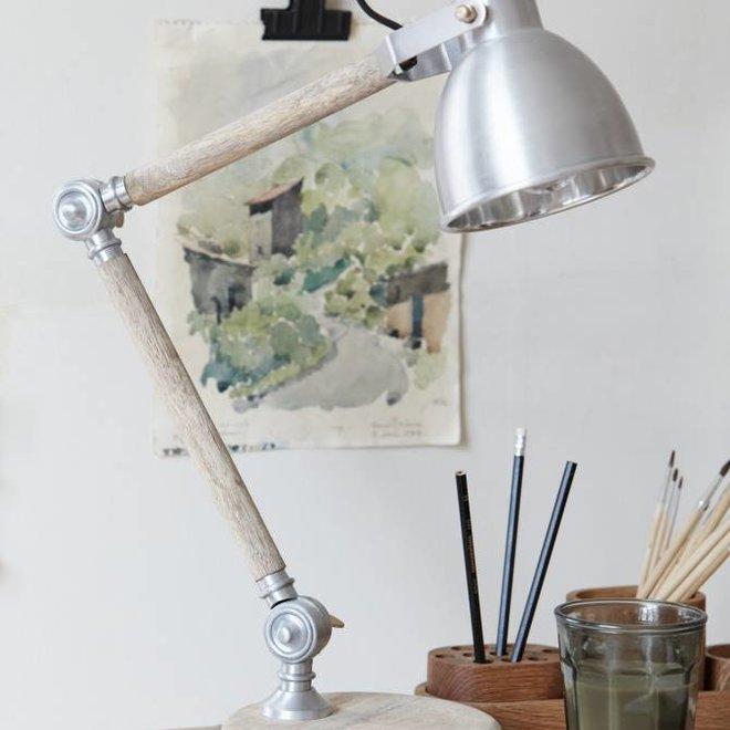 Hubsch bureaulamp hout/ijzer - 56cm - 320201