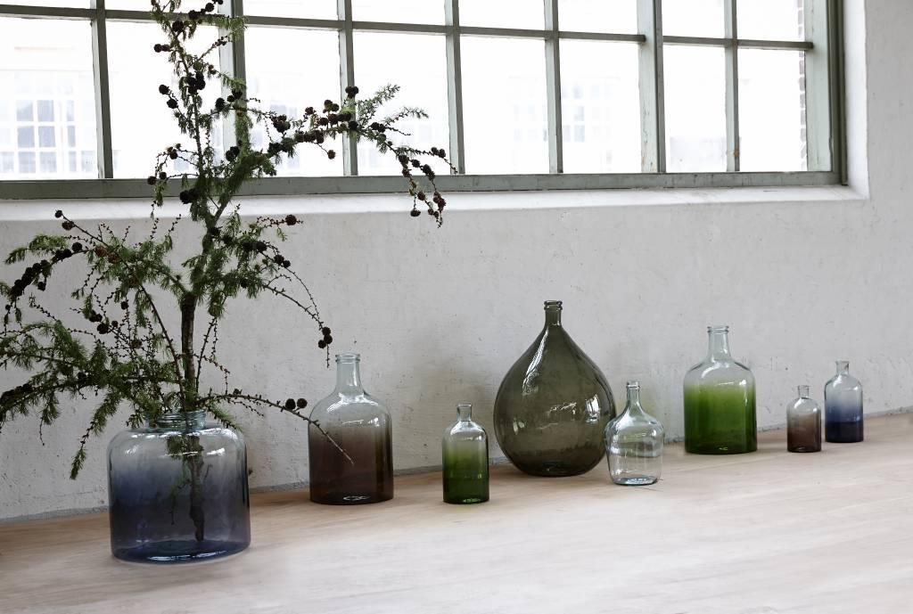 Hubsch Groene glazen vaas groot - ø25 x 44 cm-698007-5712772039991