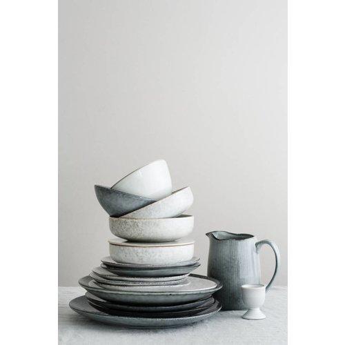 Broste Copenhagen schaal/deksel grijs aardewerk