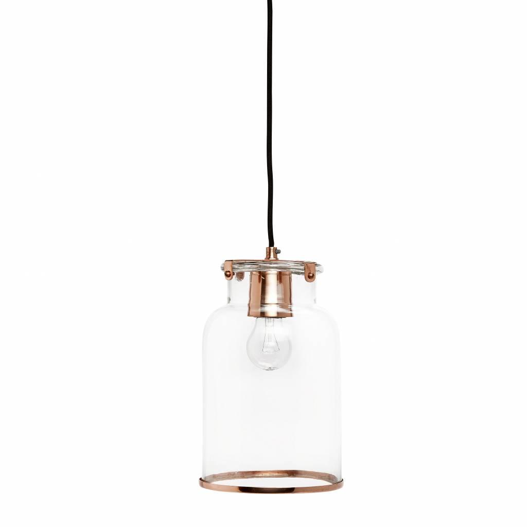 Hubsch hanglamp transparant glas/koper