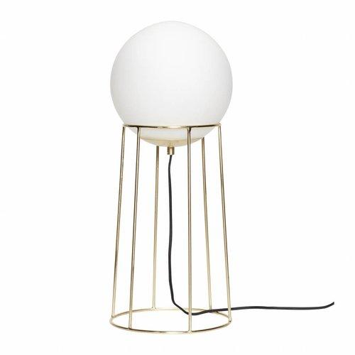 Hubsch vloerlamp goud/wit metaal/glas