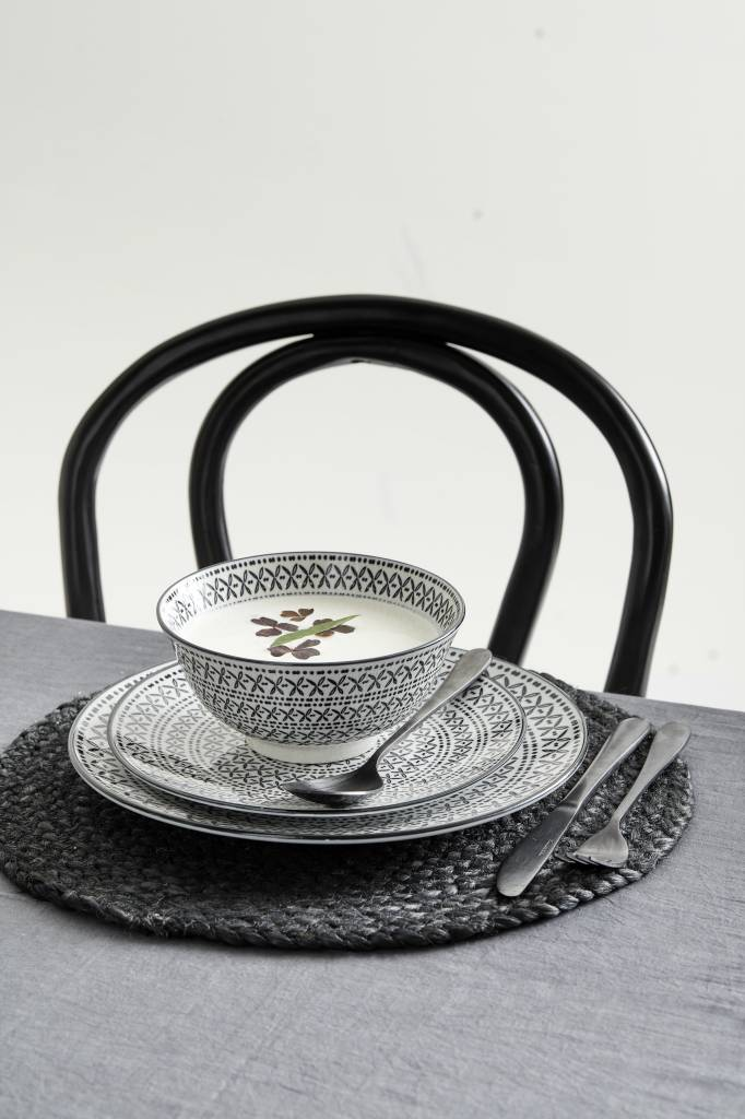 Nordal kom Inca zwart/wit - Ø 16 cm
