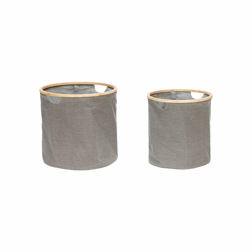 Hubsch wasmand grijs textiel/bamboe-360303-HUB.360303