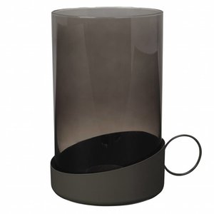 Broste Copenhagen windlicht grijs glas/metaal