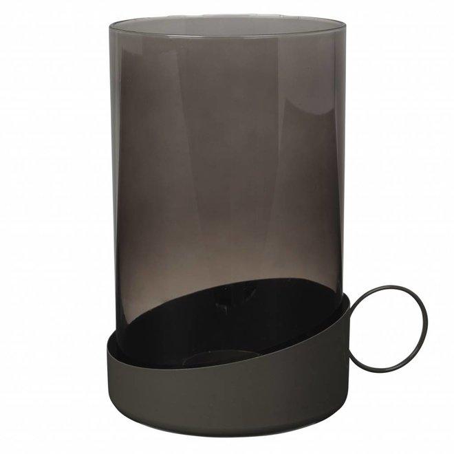 windlicht grijs glas/metaal