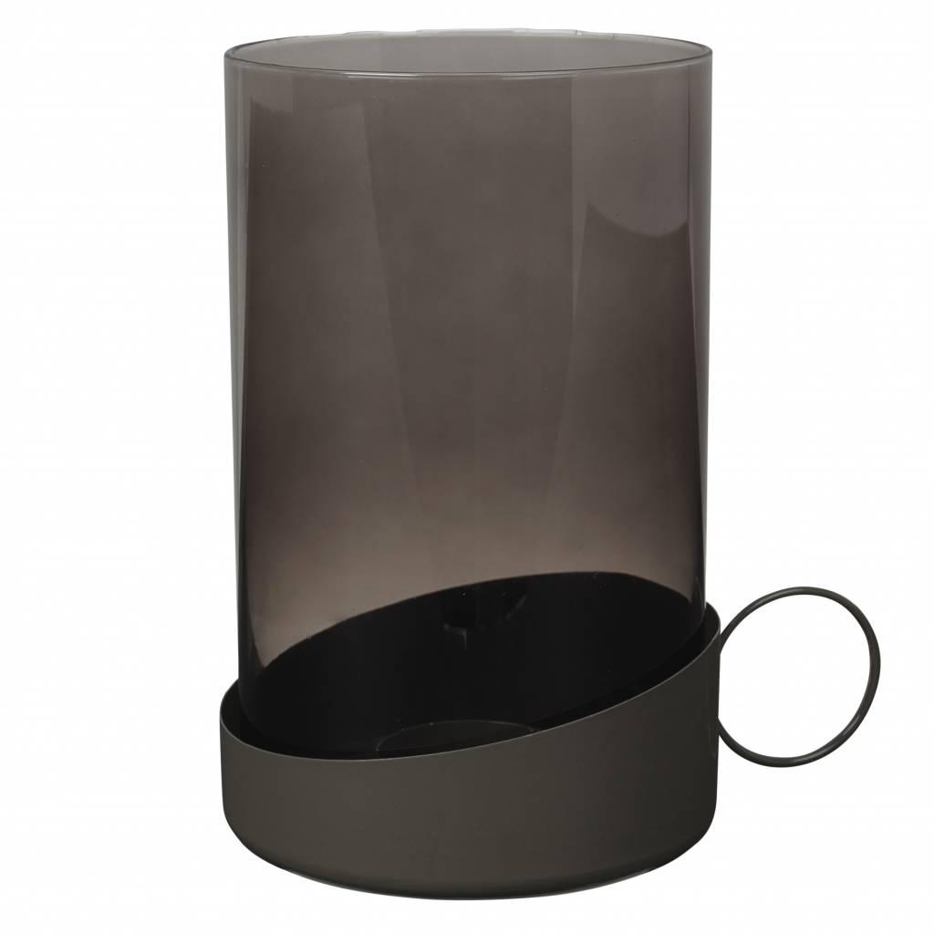 Broste Copenhagen windlicht grijs glas/metaal-14466062-9405500090