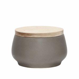 Hubsch opbergpot grijs keramiek/hout