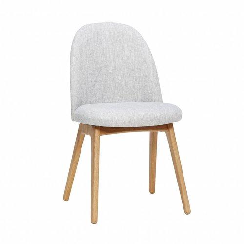 Hubsch stoel lichtgrijs stof/berkenhout