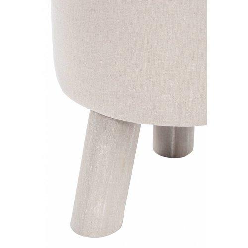 Winkel voor Thuis Collectie kruk beige/grijs textiel/hout