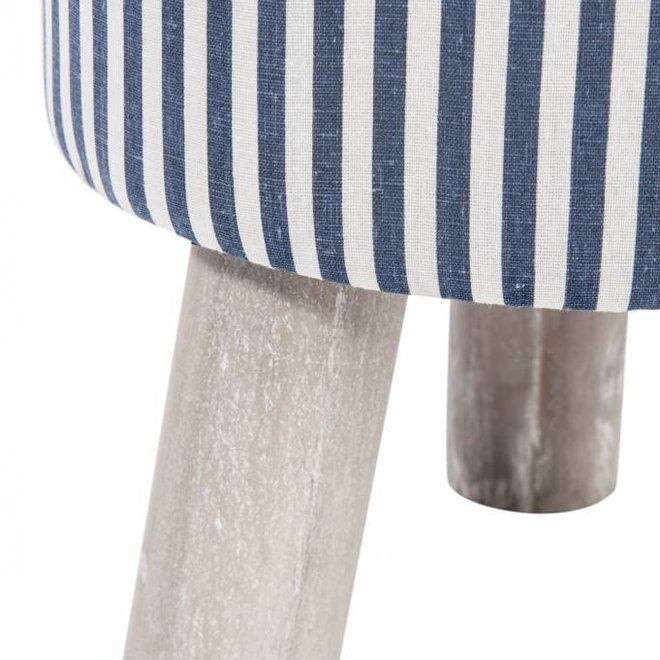 J-line kruk blauw/wit/grijs textiel/hout - MA50129