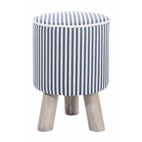 Winkel voor Thuis Collectie kruk blauw/wit/grijs textiel/hout