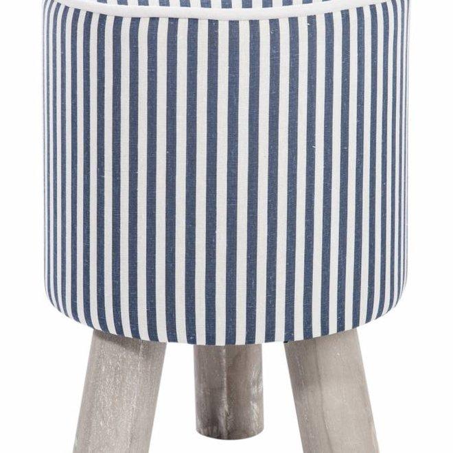 kruk blauw/wit/grijs textiel/hout