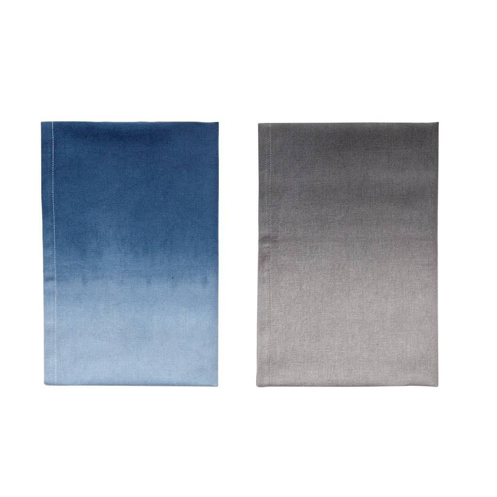Hubsch theedoeken blauw/grijs katoen s/2