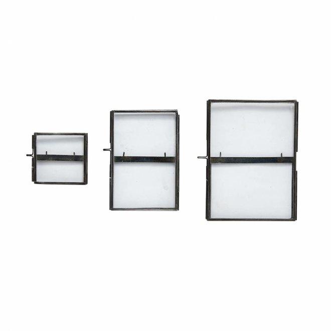 fotolijst met voet - metaal & glas - zwart - set van 3