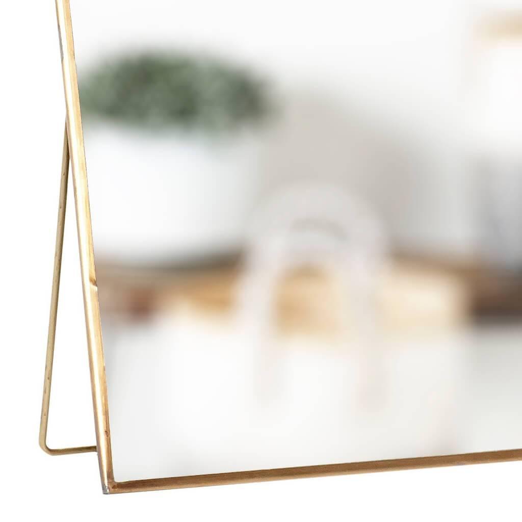 Hubsch tafelspiegel met voet - goudkleurig messing - 25 x 25 cm