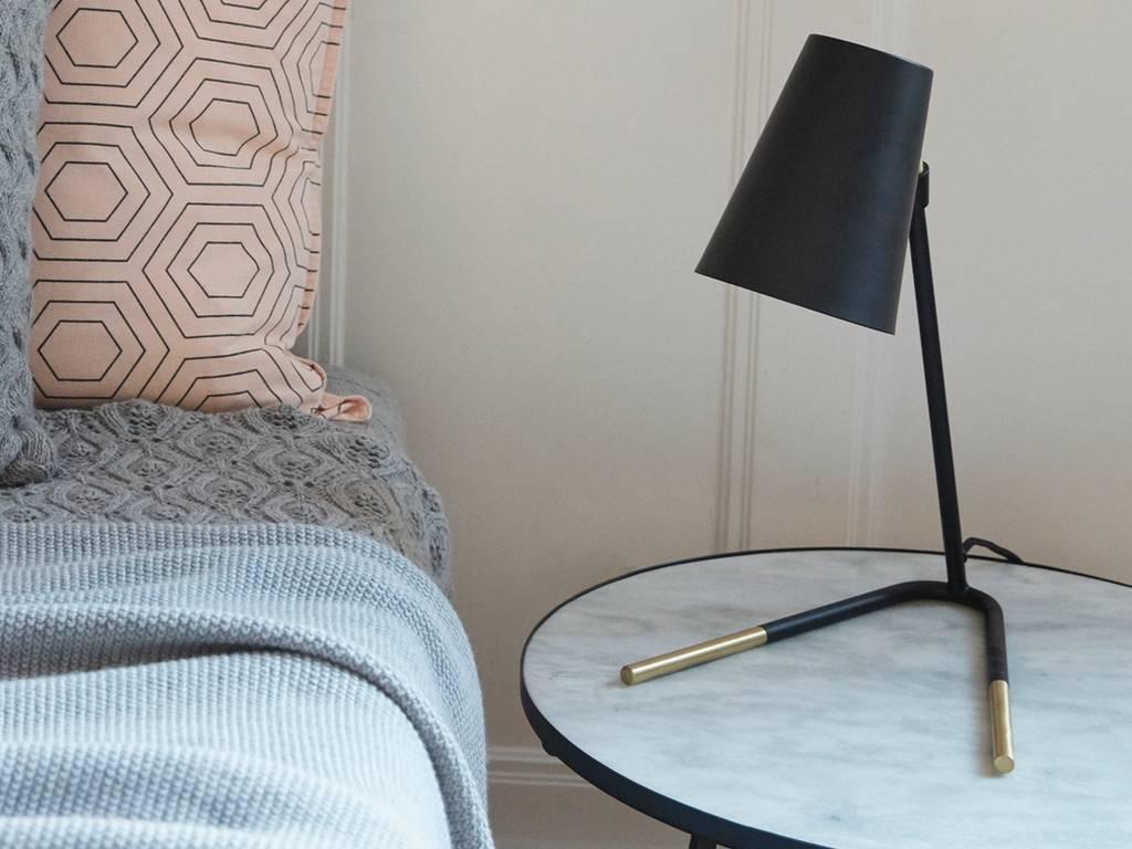 Hubsch tafellamp goud/zwart metaal
