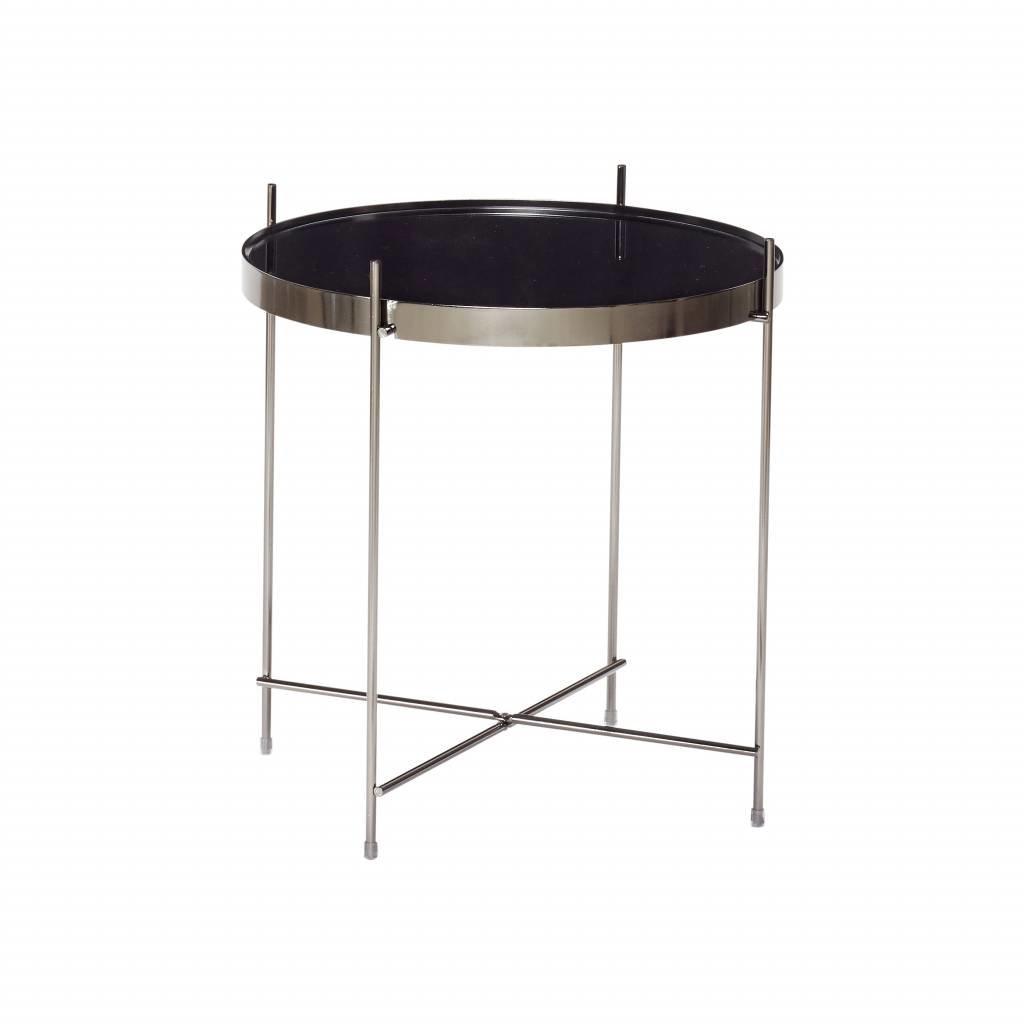 Hubsch bijzettafel zwart metaal/glas - 930402